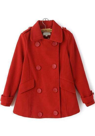 Red Long Sleeve Epaulet Double Breasted Coat