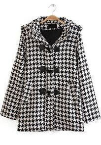 Black White Houndstooth Hooded Pockets Coat