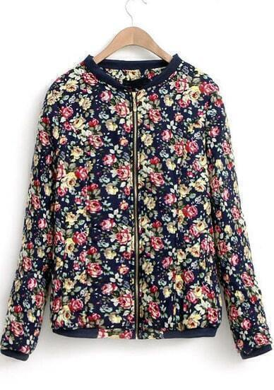 Black Long Sleeve Floral Zipper Coat