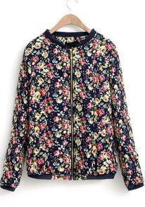 Black Long Sleeve Floral Zipper Coat