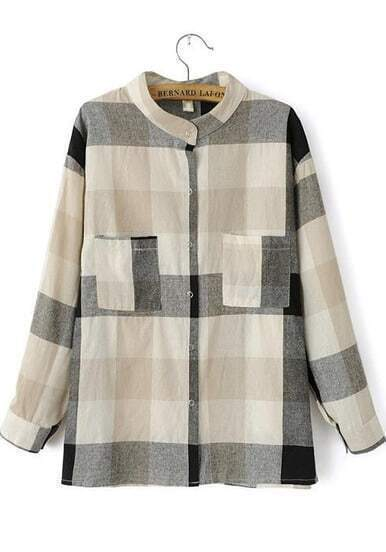 Grey Stand Collar Long Sleeve Plaid Blouse