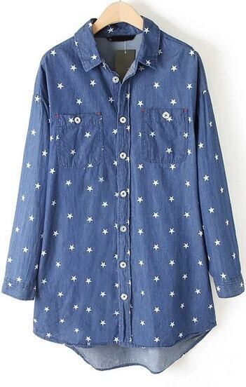 Blue Lapel Long Sleeve Stars Print Denim Blouse