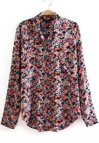 Black Lapel Long Sleeve Floral Loose Blouse