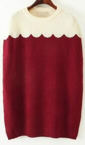 Red Batwing Sleeve Loose Cape Sweater