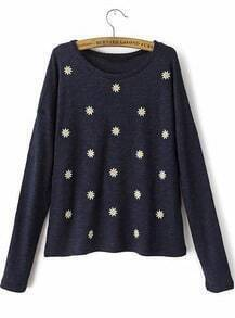 Navy Long Sleeve Daisy Embroidered Sweater