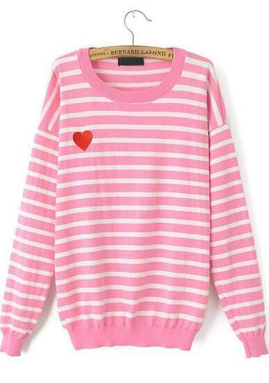 Pink Long Sleeve Striped Heart Embroidered Sweater