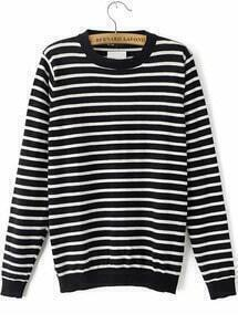 Black Long Sleeve Striped Anchors Embroidered Sweater