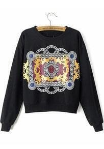 Black Long Sleeve Print Crop Sweatshirt