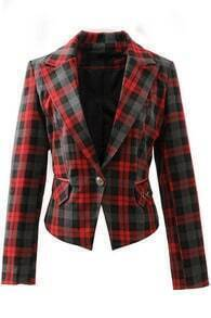 Red Lapel Long Sleeve Plaid Crop Blazer