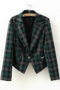Green Lapel Long Sleeve Plaid Crop Blazer