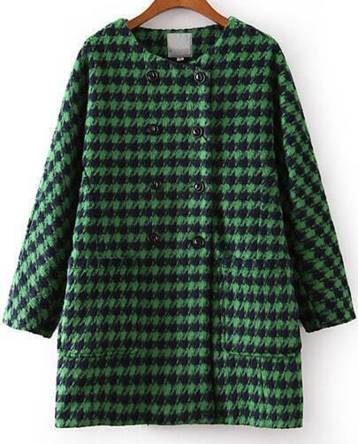 Green Long Sleeve Houndstooth Pockets Loose Coat