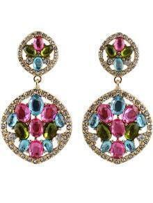 Multicolor Gemstone Gold Hollow Earrings