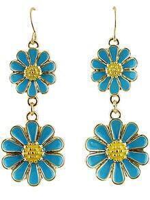 Blue Glaze Gold Flower Dangle Earrings