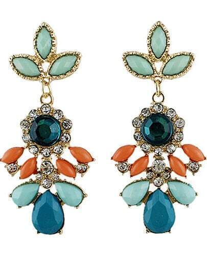 Multicolor Drop Gemstone Gold Diamond Earrings