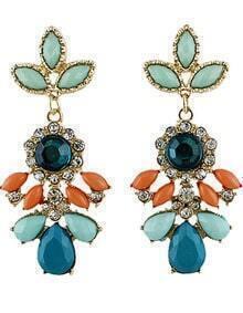 Multicolor Drop Gemstone Gold Diamond Earrings