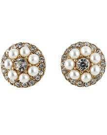 Gold Diamond Bead Stud Earrings