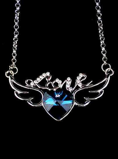 Blue Gemstone Heart Silver Wing Necklace