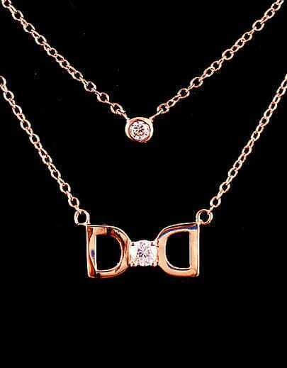 Gold Diamond Hollow Bow Necklace