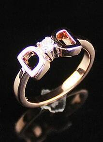 Gold Diamond Hollow Bow Ring