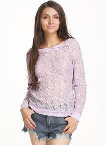 Purple Long Sleeve Embroidered Lace Sheer Sweatshirt