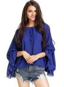 Blue Batwing Long Sleeve Sheer Mesh Yoke Chiffon Blouse