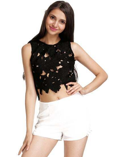 White High Waist Embroidered Lace Chiffon Shorts