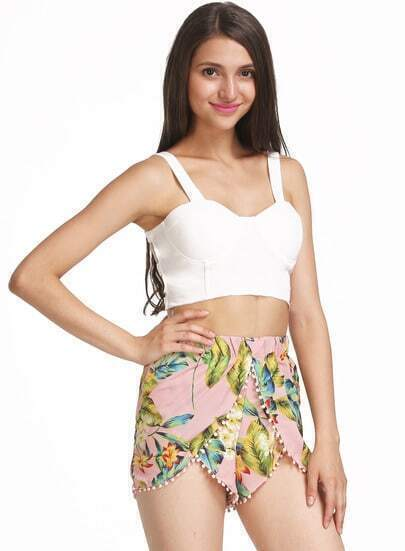 Yellow Twisted Ball Leaves Print Chiffon Shorts