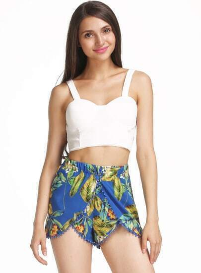 Blue Twisted Ball Leaves Print Chiffon Shorts