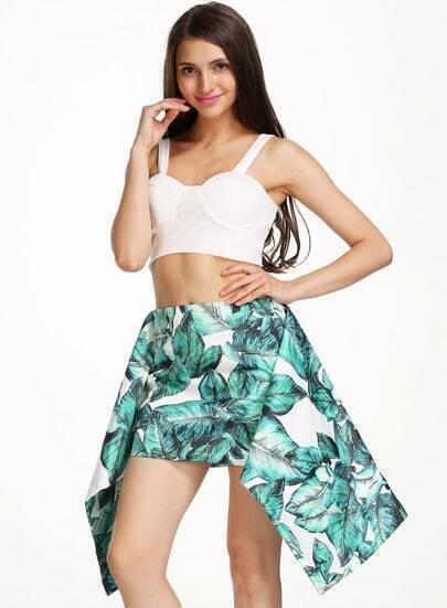 Green Leaves Print Bodycon Skirt
