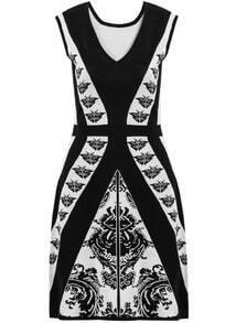 Black V Neck Sleeveless Butterfly Print Dress
