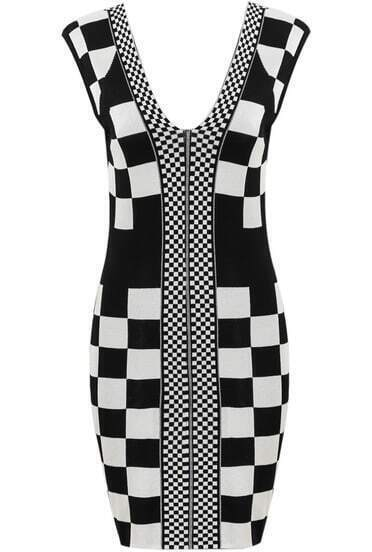 Black V Neck Sleeveless Plaid Knit Dress
