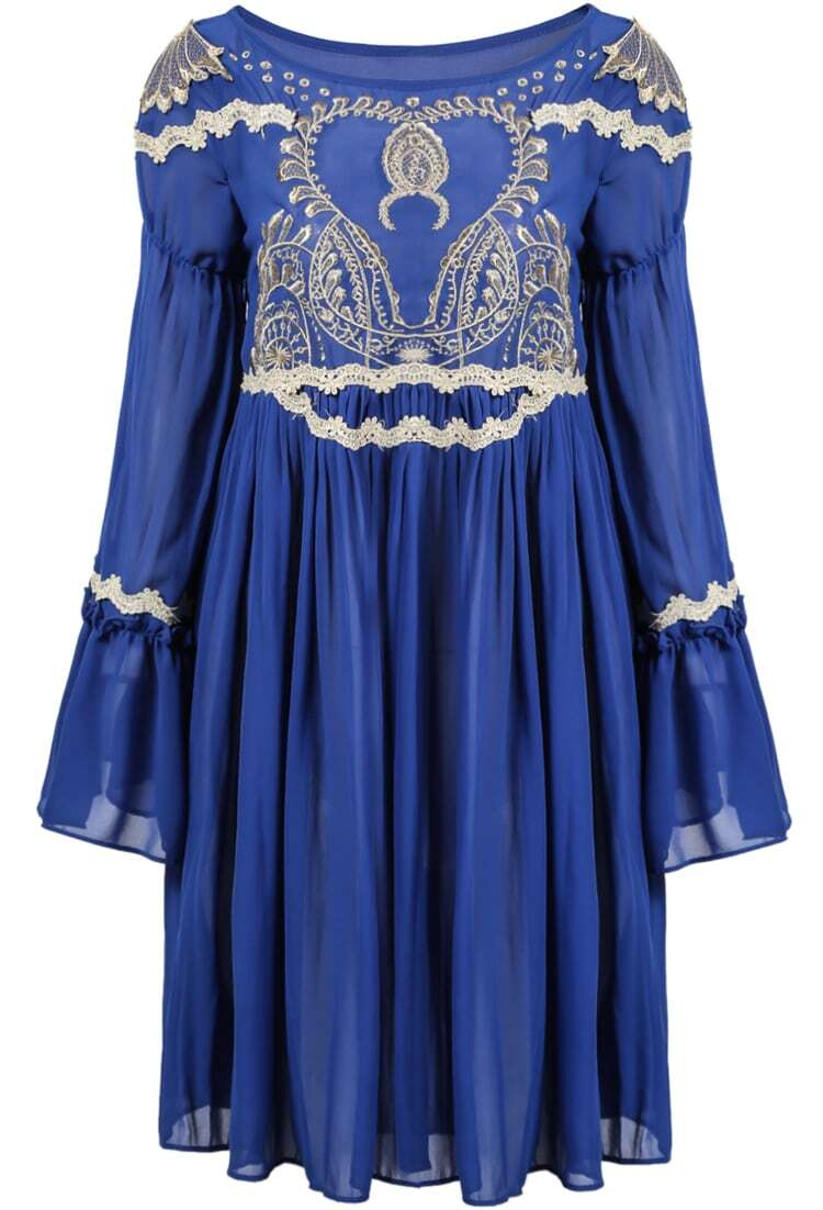 Blue long sleeve lace embroidered pleated dress shein