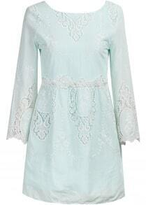 Green Long Sleeve Embroidered Lace Dress