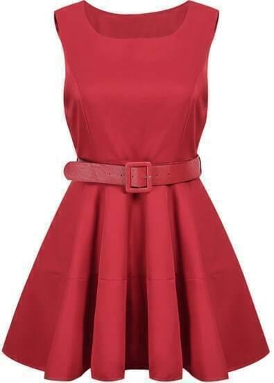 Red Sleeveless Belt Pleated Dress
