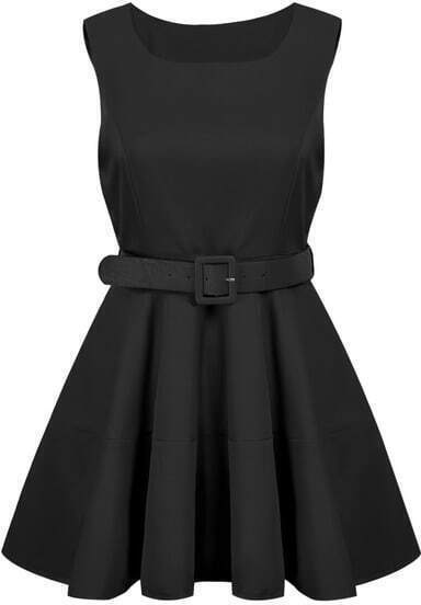 Black Sleeveless Belt Pleated Dress