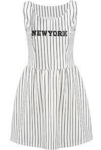 White Sleeveless Vertical Stripe NEW YORK Print Dress