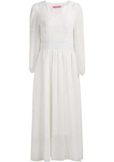 White V Neck Long Sleeve Maxi Chiffon Dress