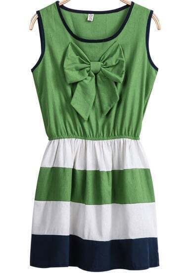 Green Sleeveless Bow Striped Dress