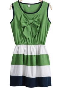 Green Sleeveless Bow Striped Dress