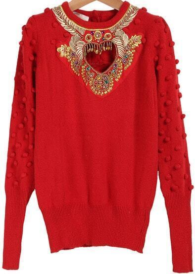 Red Long Sleeve Rhinestone Twisted Ball Sweater