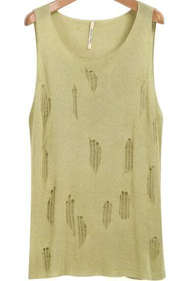 Green Sleeveless Hollow Knit Vest