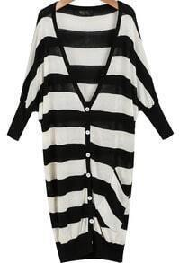 Black White Striped Loose Knit Sweater