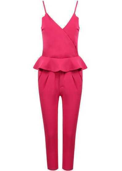 Pink Spaghetti Strap Ruffle Top With Slim Pant