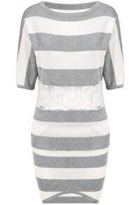 Grey Half Sleeve Striped Knit Top Bodycon Skirt