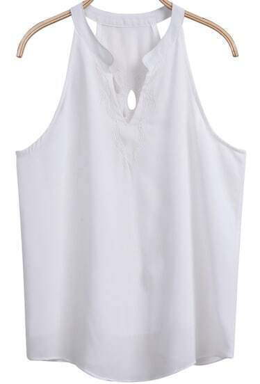 White Sleeveless Embroidered Hollow Chiffon Vest