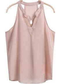Pink Sleeveless Embroidered Hollow Chiffon Vest