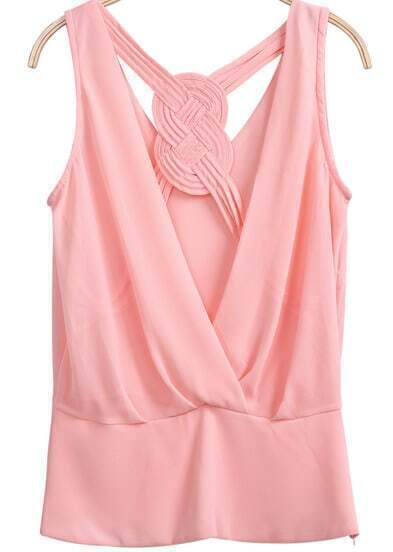 Pink Sleeveless Hollow Chiffon Vest