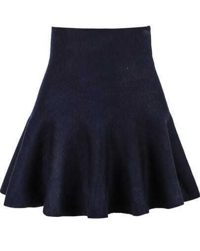 Blue High Waist Ruffle Knit Skirt