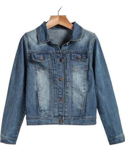 Blue Lapel Long Sleeve Bleached Denim Jacket