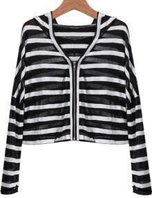 Black Hooded Long Sleeve Striped Crop Jacket